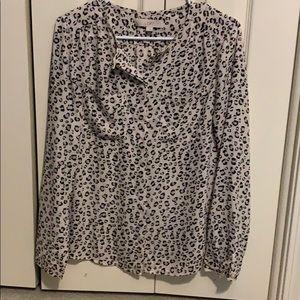 Loft snow leopard blouse